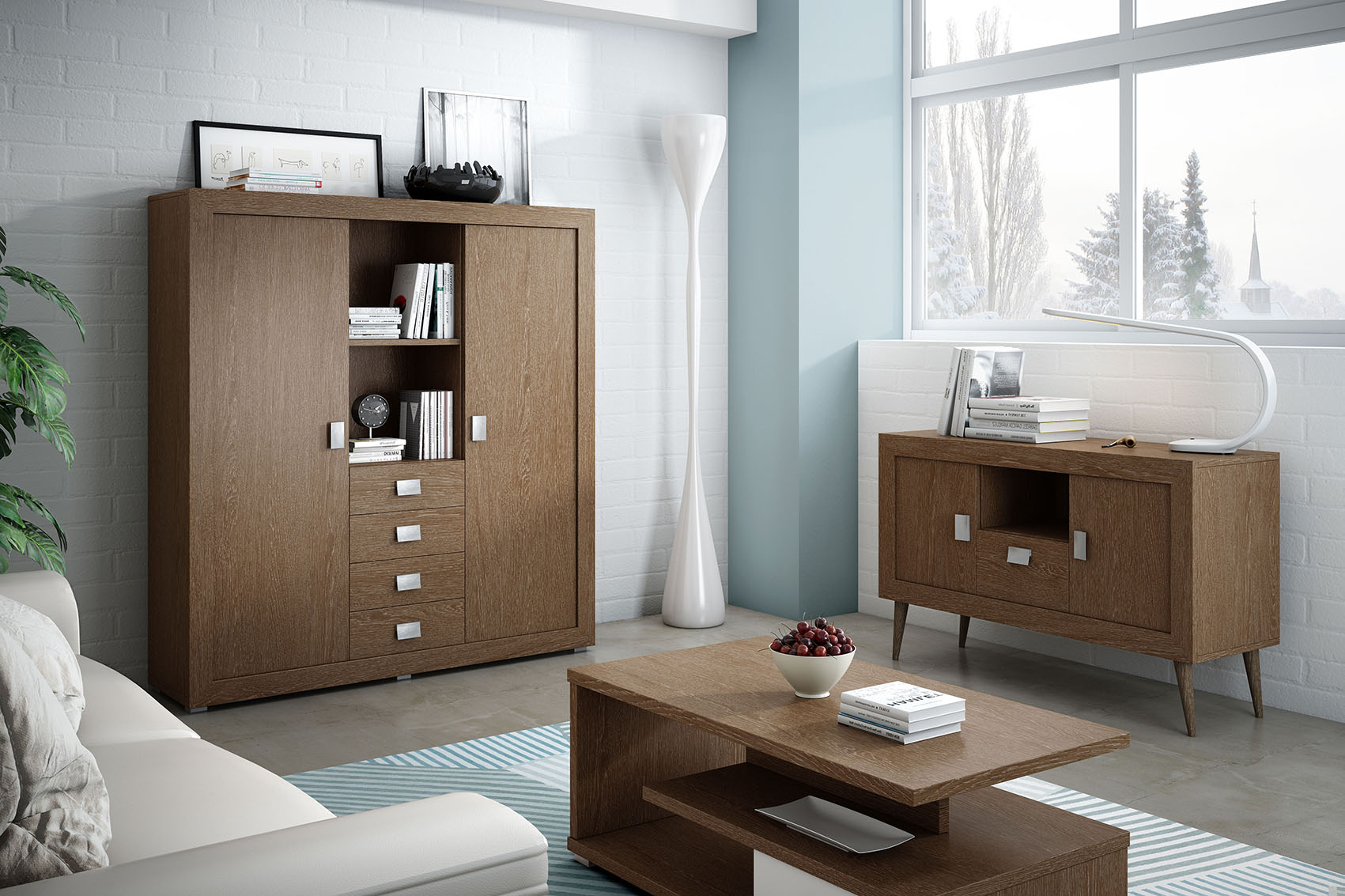 Muebles dormitorio nogal for Muebles color roble