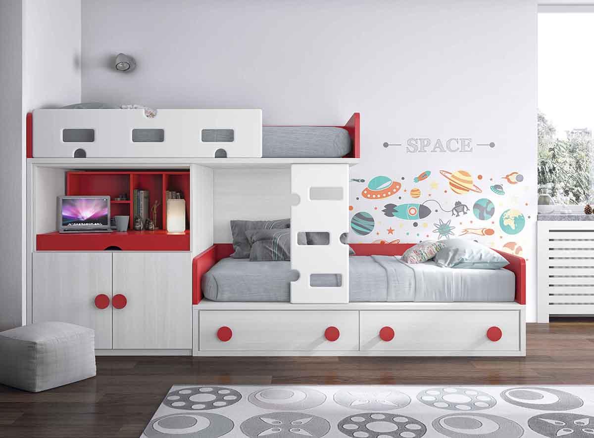 La cama nido en la decoraci n de habitaciones juveniles - Cama tipo tren ...