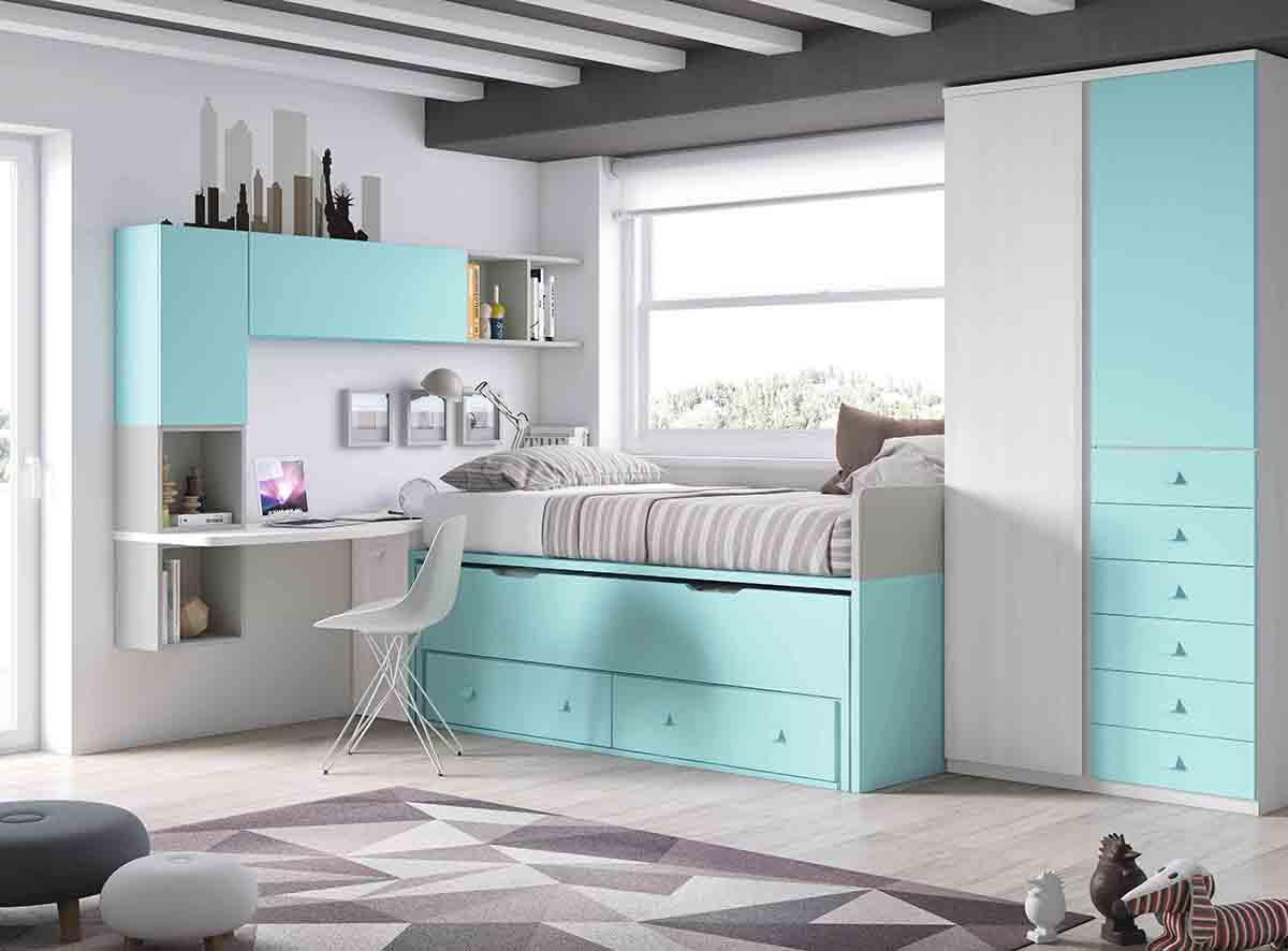 La cama nido en la decoraci n de habitaciones juveniles for Cuartos pintados de azul
